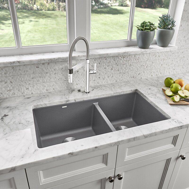 Blanco Precis Silgranit 33 L X 18 W Double Basin Undermount Kitchen Sink Perigold Undermount Kitchen Sinks Best Kitchen Sinks Double Basin Kitchen Sink