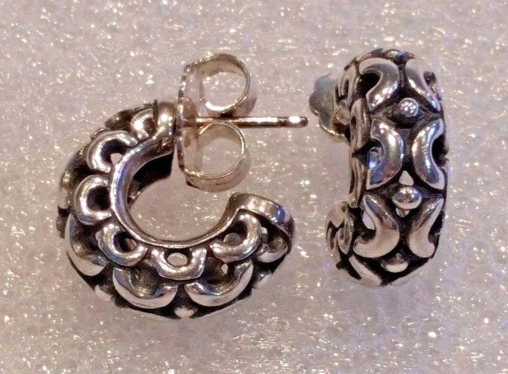 Retired James Avery Sterling Silver Open Carved Hoop Earrings Euc Jamesavery Hoop Vintage Sterling Silver Silver Sterling Silver