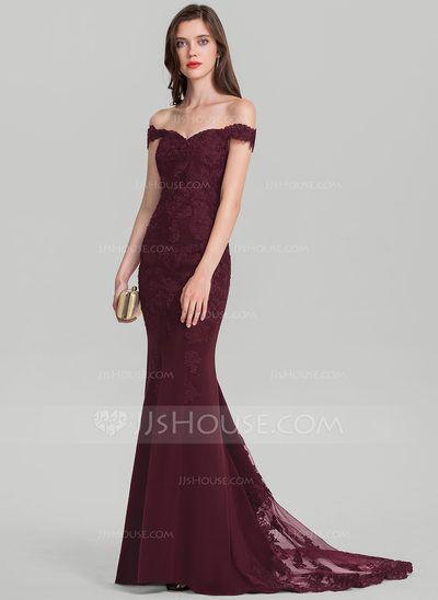 Trumpet/Mermaid Off-the-Shoulder Court Train Satin Prom Dresses ...