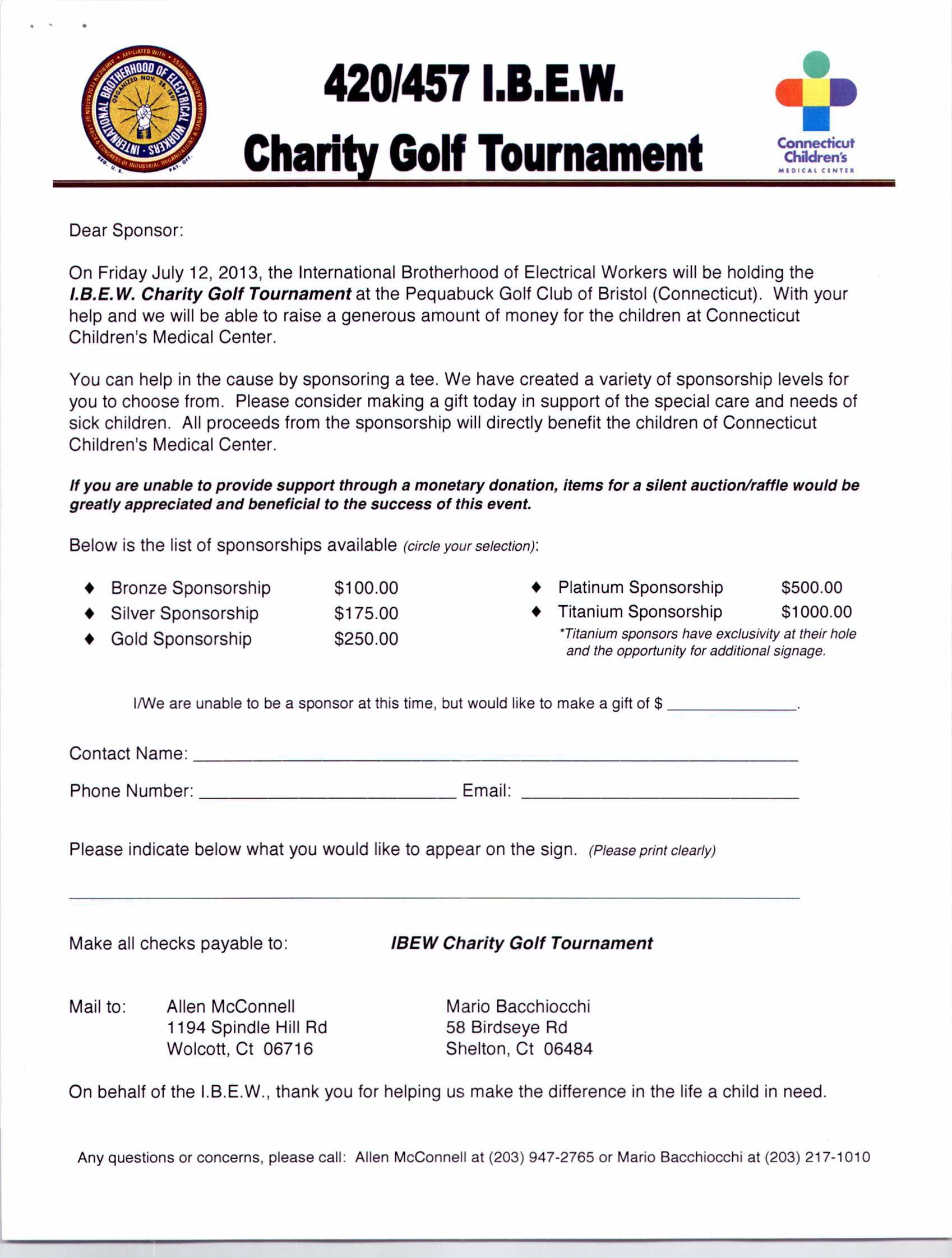 Annual Ibew Local Charity Golf Tournament Event Sponsorship Letter