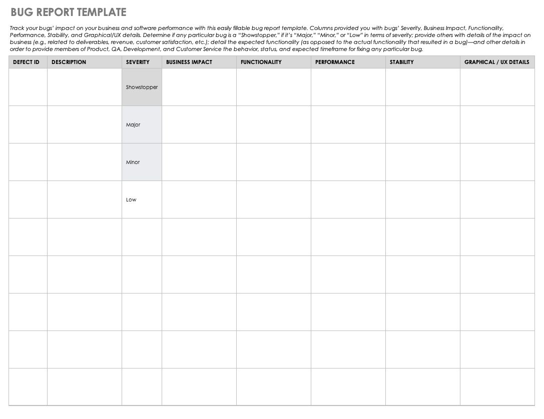 The Charming Free Bug Report Templates And Forms Smartsheet