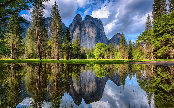 Download Wallpapers Rocks Mountain Landscape Mountain Lake Forest Cloudy Weather Usa Yosemite