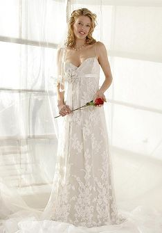French Chantilly Lace Charmeuse Sheath Spaghetti Straps Floor Length Wedding Dress Style At Angelweddingdress