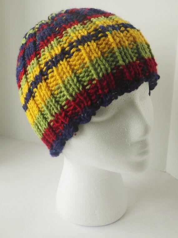 Hand knit toboggan, multicolored hat, multicolor tobaggan