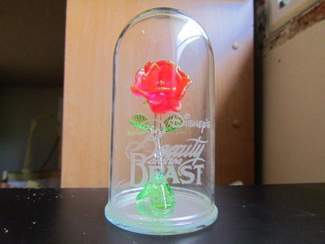 Disney 39 s beauty and the beast hand blown glass rose under for Rose under glass