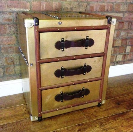 Industrial travel trunk 3 drawer bedside table finished in gold - £206.08  Shop > http - Industrial Travel Trunk 3 Drawer Bedside Table Finished In Gold