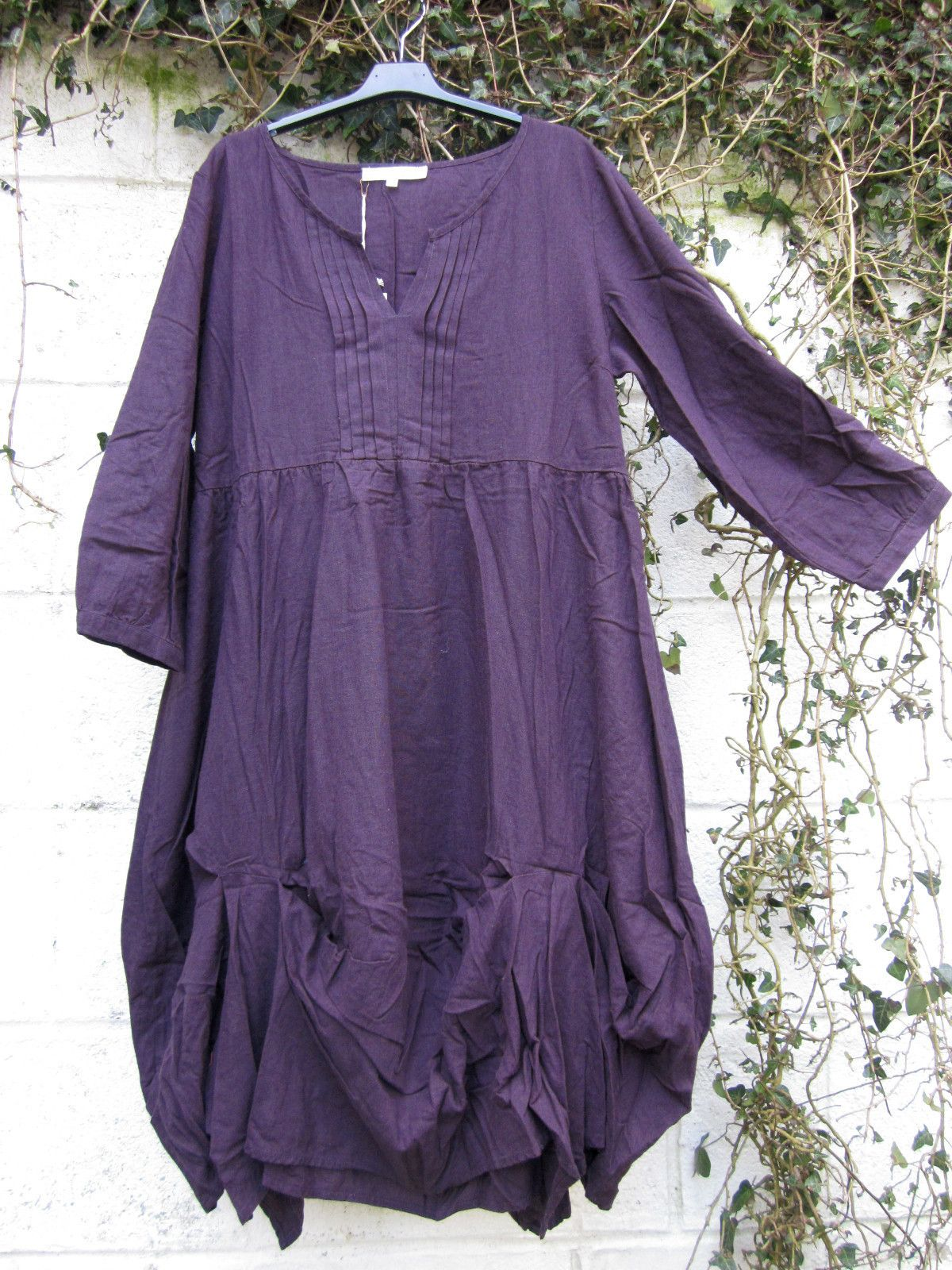 "ORGANIC HEMP DRESS QUIRKY RUCHED HEM AUBERGINE BNWT 38"" - 40"" LAGENLOOK ETHNIC 
