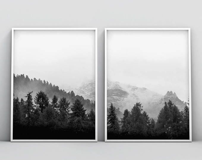 2 piece black and white woodland printable 2 piece forest print forest photography printable