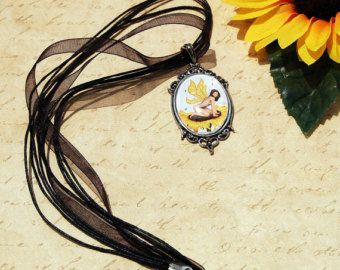 Sunflower Fairy Fantasy Art Pendant Cameo Necklace 30x22mm