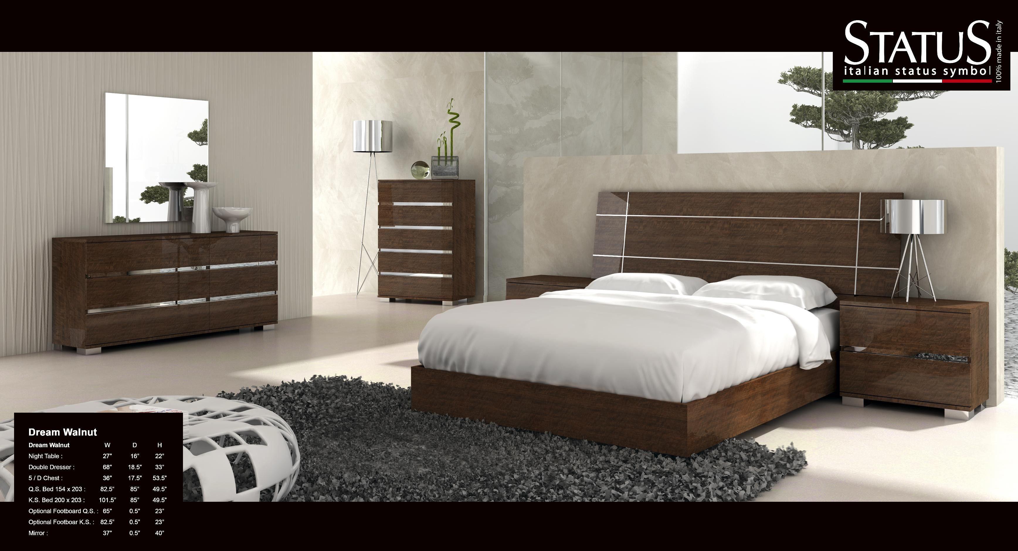 Modern Bedroom Sets King P Volare Walnut Bed Bedroom At