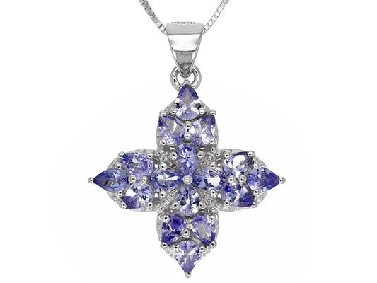 2.24ctw Pear Shape Tanzanite Sterling Silver Cross Pendant With Chain