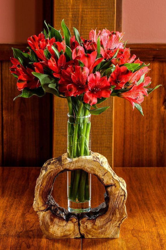 Hollow Log Wooden Flower Vase Rustic Flower