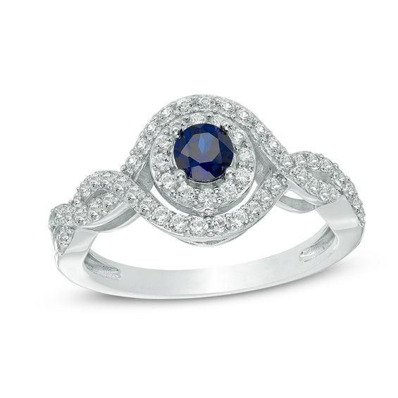 Zales 5.0mm Lab-Created Blue and White Sapphire Double Swirl Frame Ring in Sterling Silver lqduZZavRx