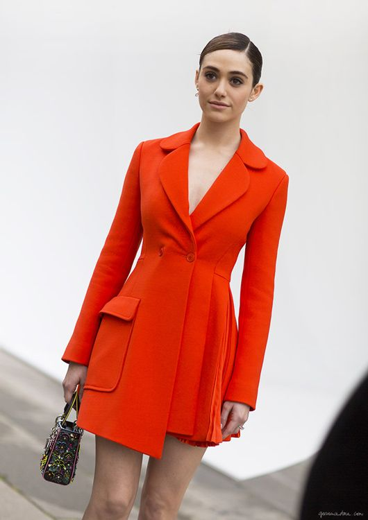 Celebrity Style I Emily Rossum I Dior blazer style dress I bright red button dress I fashion week outfit inspiration I bright colours trend I beauty @monstylepin