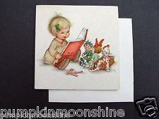 1946 Ars Sacra Xmas Greeting Card Girl Reading to her Baby Dolls