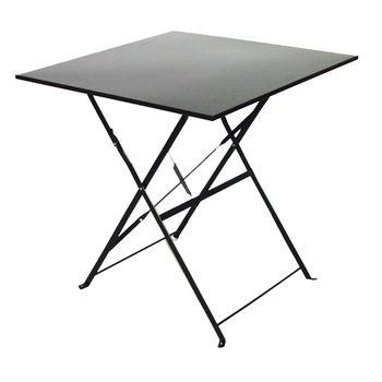 Table de jardin pliante carrée noire, 70 x 70 x H 71 cm - En ...