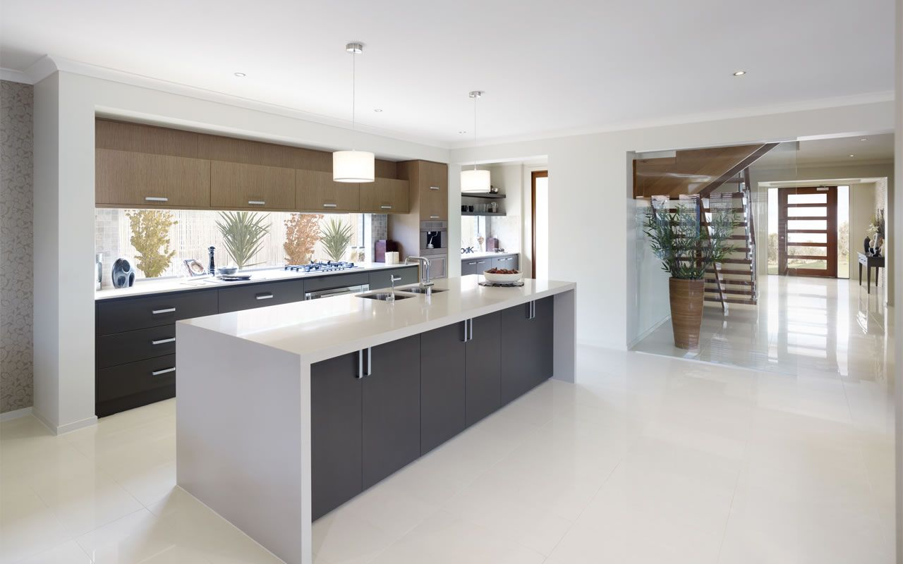 White waterfall bench top with grey cupboards | Kitchens and ...