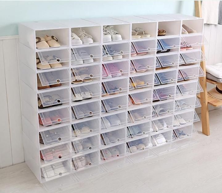 Description Our Shoe Storage Boxes Have Drop Front Doors So You Can Easily Access Your Shoes Even W Stacking Storage Boxes Shoe Box Organizer Shoe Box Storage