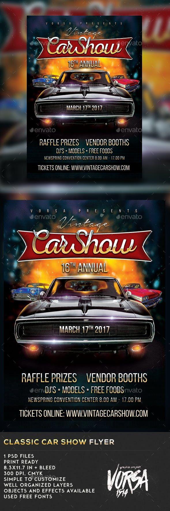 Classic Car Show Flyer — Photoshop PSD #chrome #motor
