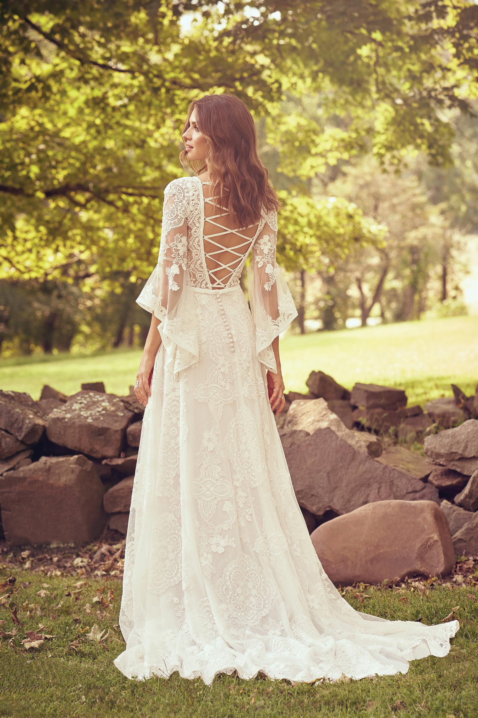 Style 66064 Bell Sleeve Lace Dress With Criss Cross Back Detail Lillian We Lace Dress With Sleeves Bell Sleeve Wedding Dress Lace Wedding Dress With Sleeves