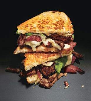 """""""Joan's on Third"""" Short Rib sandwich with melted jack cheese, arugula and sweet red onions on grilled country white bread. Just might be the best sandwich you can eat on the street in L.A. 3'rd Street."""