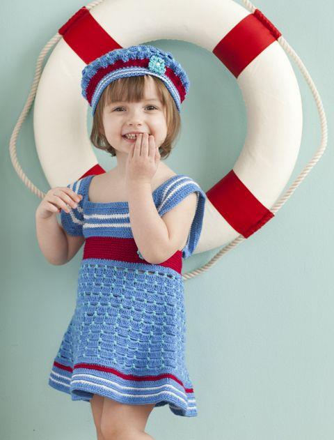 Free Crochet Girls Sailor Dress and Beret Pattern