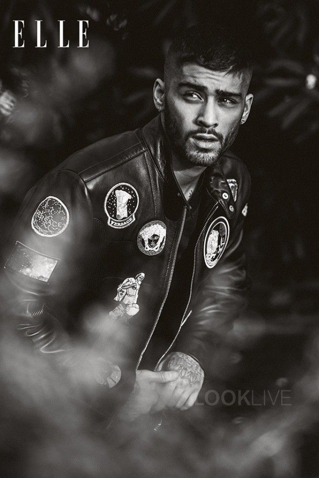 ef3bc8c24e2e0 ... One Direction and Anxiety. Zayn Malik wearing Versace Astronaut Patch  Leather Bomber Jacket