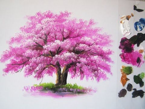 How To Paint A Tree In Acrylic Lesson 6 Youtube Flower Painting Cherry Blossom Painting Acrylic Painting For Beginners