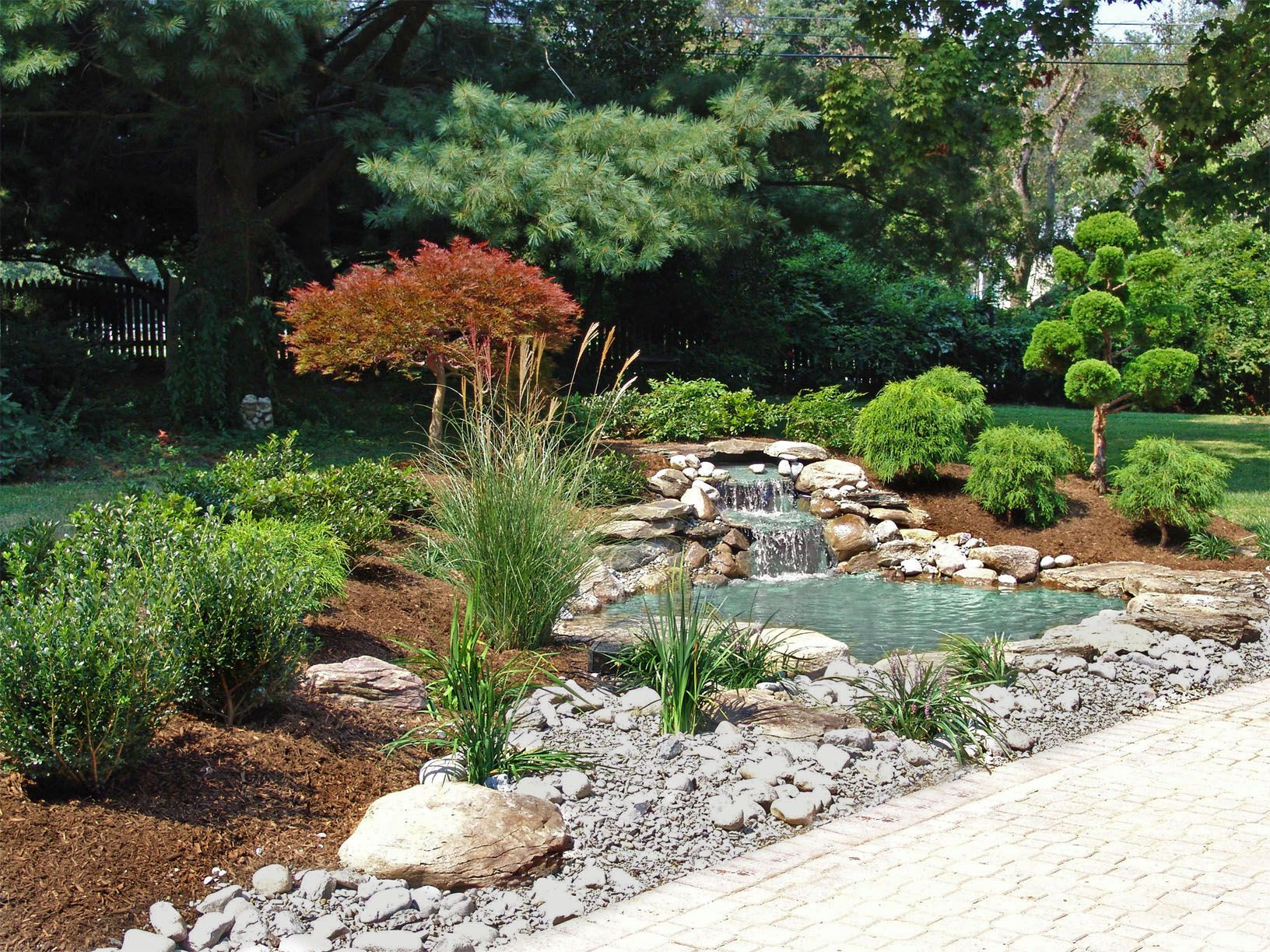 Japanese garden landscape design with waterfall and pond for Garden landscape drawing