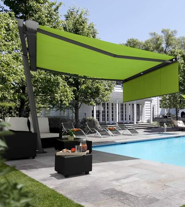 Freestanding Awnings Are Ideal For Large Open Spaces Their Strong Frameworks And Posts Support Patio Without The Need Wall Mounting