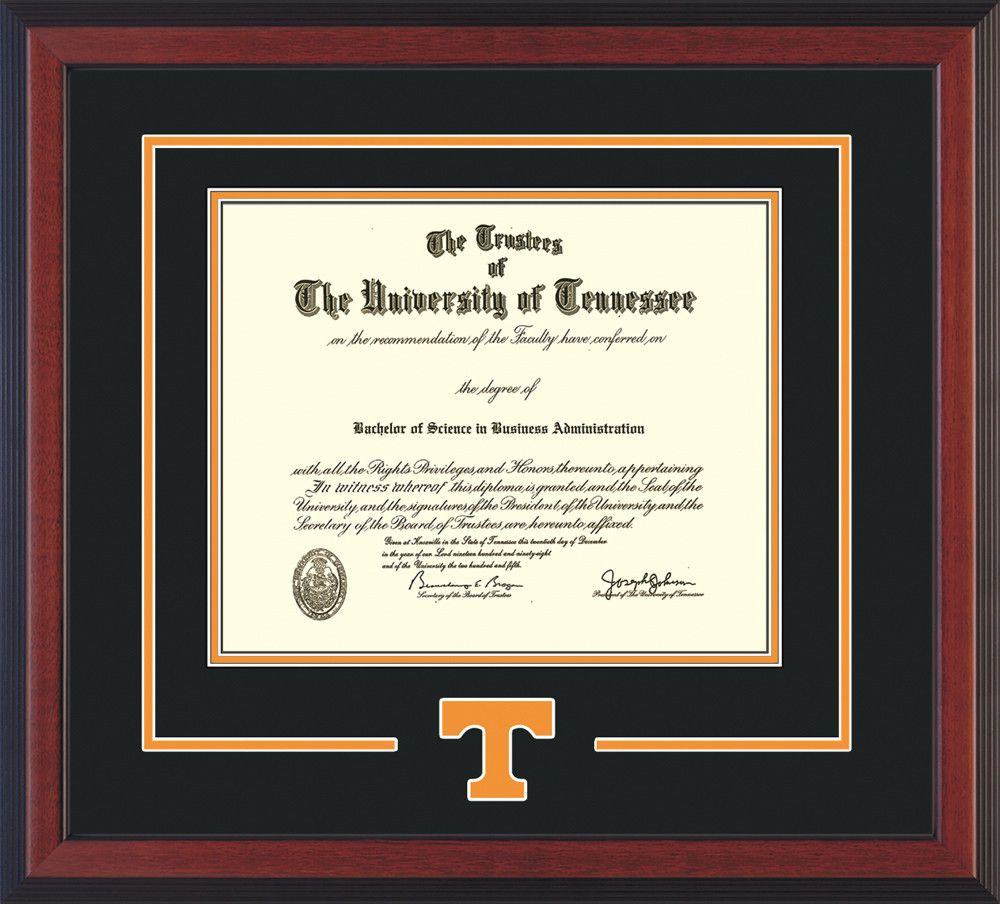 University Of Tennessee Diploma Frame Cherry Reverse W