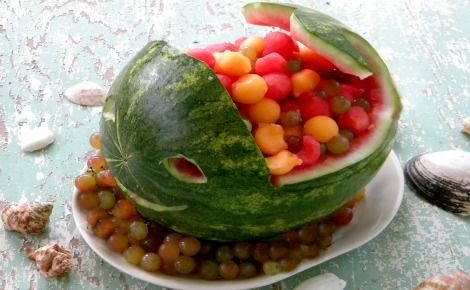 Fun fruit recipe for kids - watermelon whales.