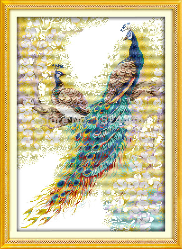 Embroidery Kit Printed Needlework Peacock Cross Stitch 14CT DIY Handmade Counted