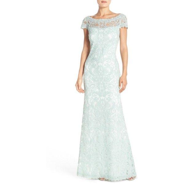 Tadashi Shoji Lace Column Gown (4,645 HKD) ❤ liked on Polyvore ...
