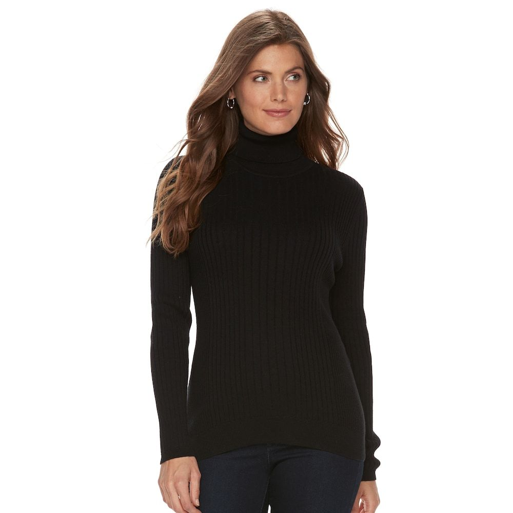 Petite Croft & Barrow® Ribbed Turtleneck Sweater, Women's, Size ...