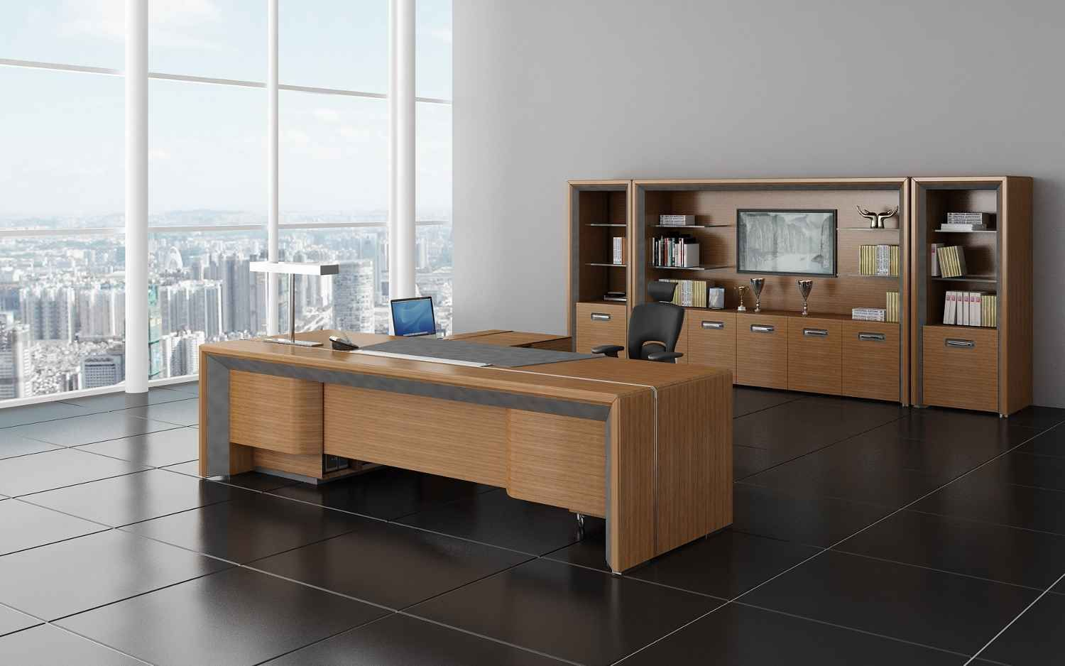 Modern Wood Cabinetry Furniture Feat Ergonomic Office Chair And