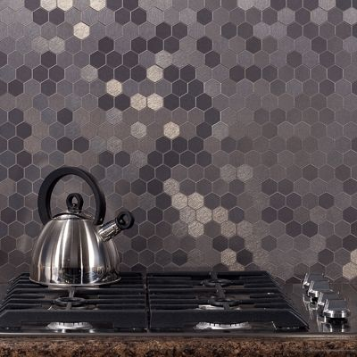 Aspect matted peel-and-stick backsplash. Hexagon style, stainless finish.