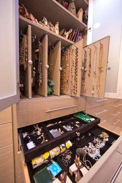 Slide Out Jewelry Storage In Mbr Closet Woman S Dream Walk In Closet Modern Closet New Orlea Jewelry Storage Cabinet Modern Closet Closet Storage Design