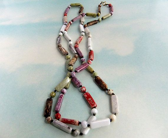 Ceramic Bead Link Necklace by ediesbest on Etsy, $9.95