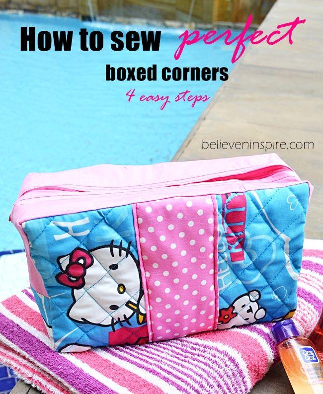 eckige Kosmetiktasche nähen, DIY boxed Corner Bag | @home, Wäsche ...