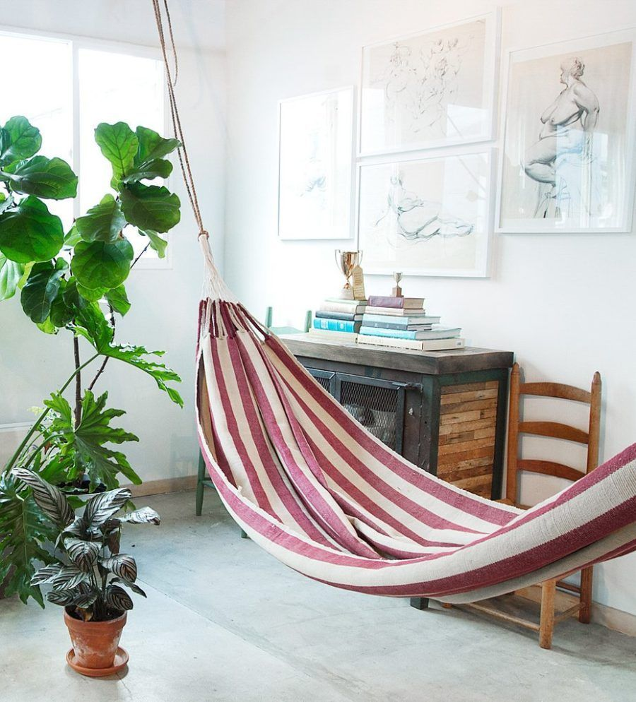 Striped Hammock 900X994 Indoor Hammock Ideas For Year Round Summer Fascinating Living Room Hammock 2018