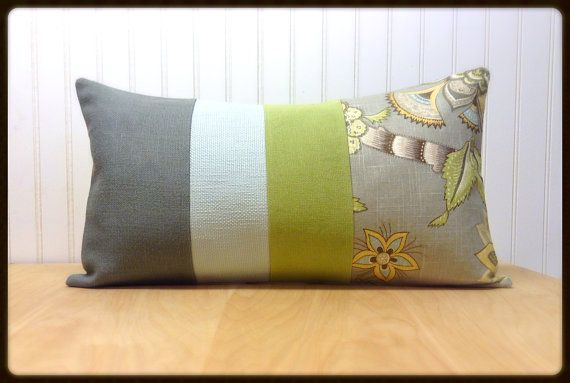 Upcycled Designer Pillow in Lime Green Grey by upcycledsamandfinn