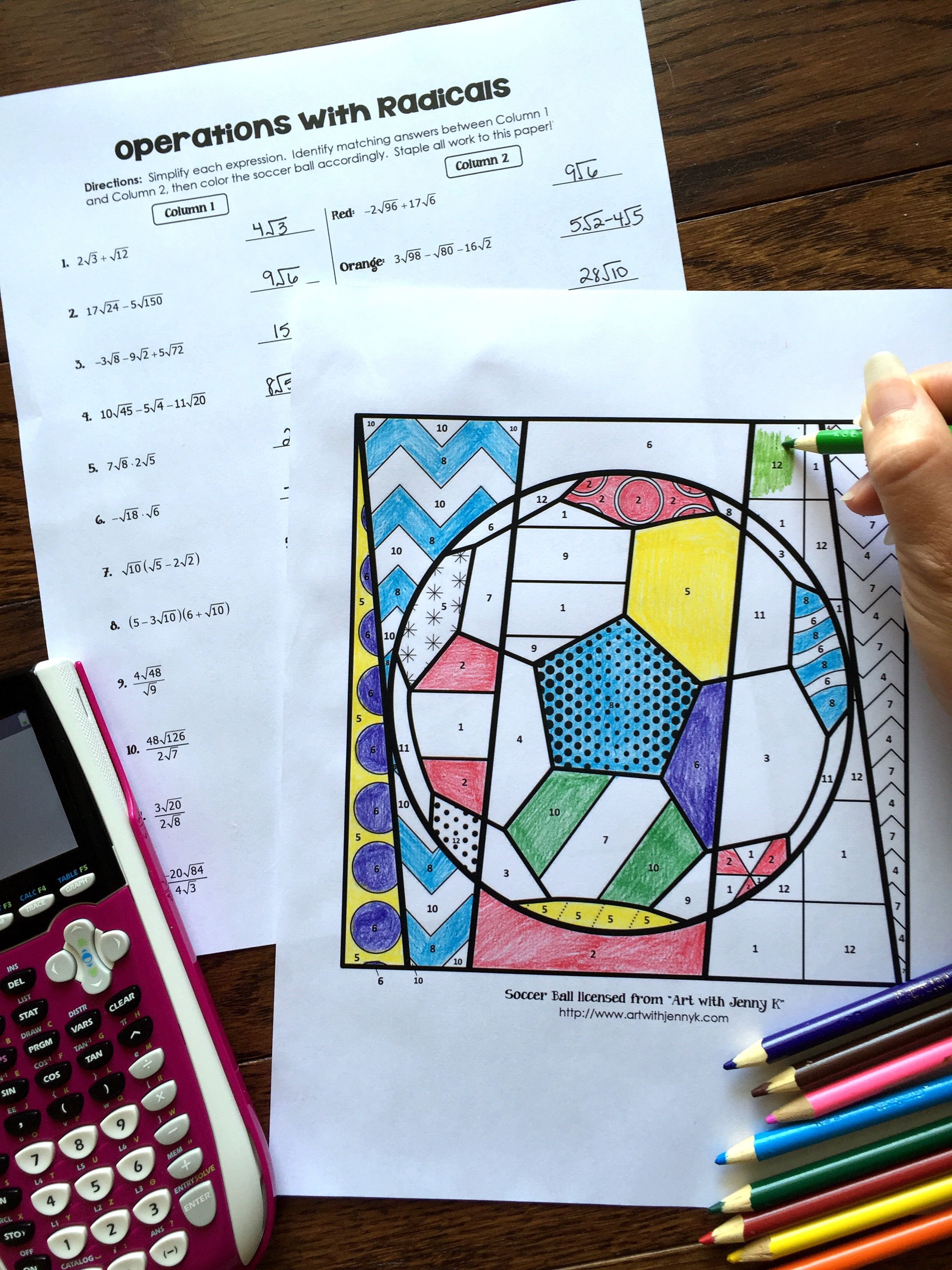 Radical Operations Coloring Activity | Success in Secondary ...