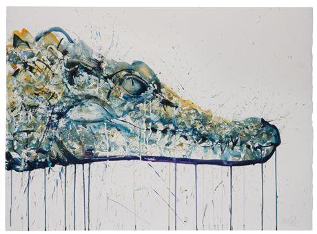 Crocodile dave white art peinture divers pinterest for Peinture crocodile