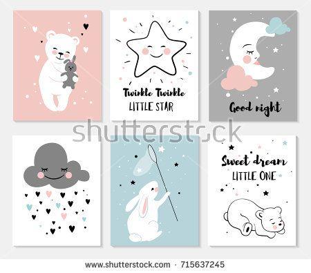 Little bear rabbit moon and star cute characters set posters for little bear rabbit moon and star cute characters set posters for baby m4hsunfo
