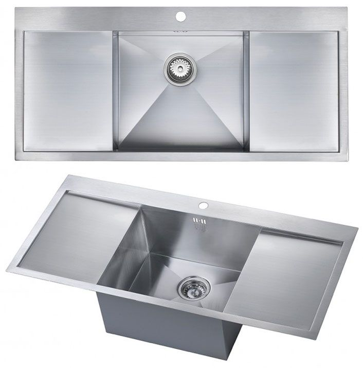 the 1810 company zenuno deep single bowl kitchen sink with double drainer - Single Or Double Kitchen Sink