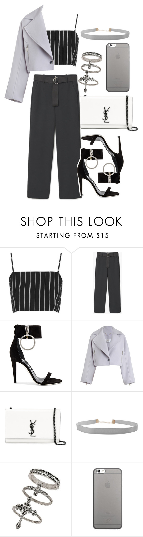 """""""Untitled #259"""" by ritapf ❤ liked on Polyvore featuring Topshop, MANGO, Off-White, Zimmermann, Yves Saint Laurent, Humble Chic, Miss Selfridge and Native Union"""