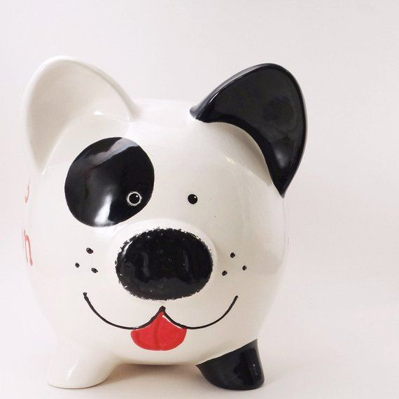 Black White Puppy Dog Bank Personalized Piggy Bank Spot The Dog
