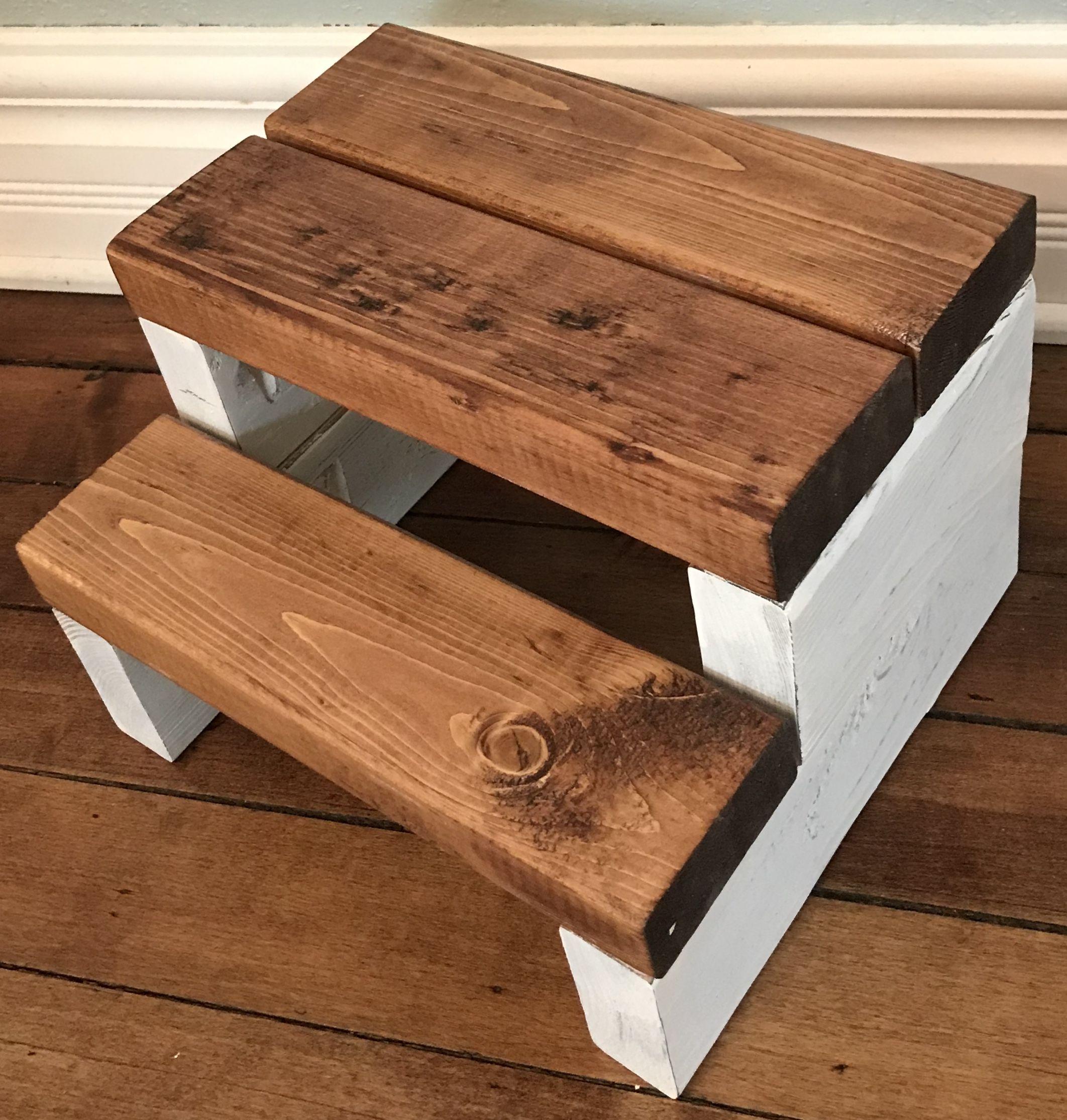 Rustic Segmented Kids Step Stool Toddler Step Stool Wooden Step