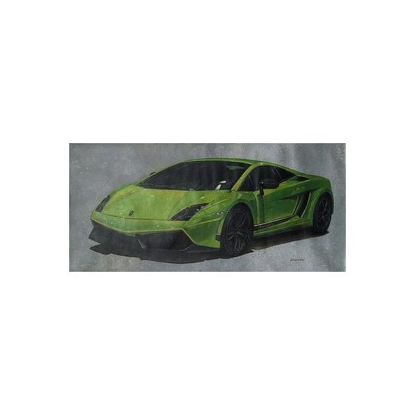 NOVICA Classic Lamborghini Car Theme Oil Painting ($1,578) ❤ liked on Polyvore featuring home, home decor, wall art, green, paintings, realist paintings, car interior decor, novica home decor, green painting and green wall art